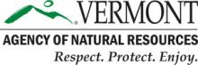 "Outline of a green mountain next to the text ""Vermont Agency of Natural Resources. Respect. Protect. Enjoy."